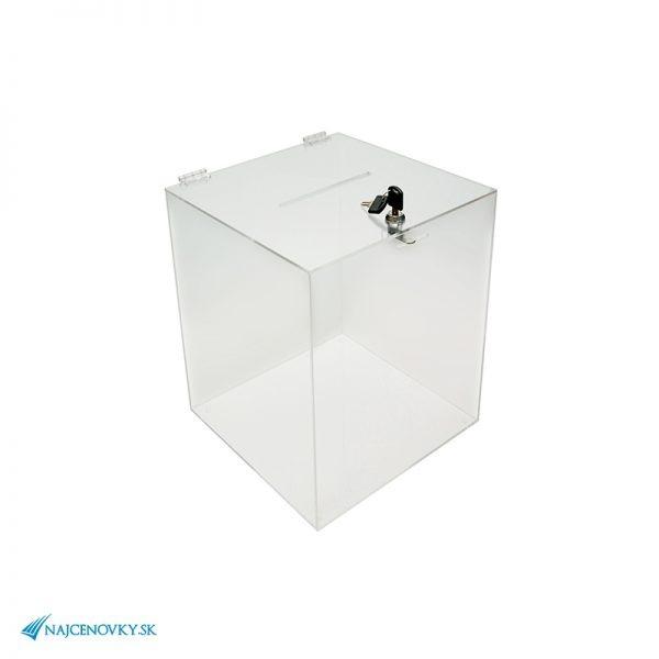 Hlasovacia urna 30x30x37 cm z plexiskla, číra