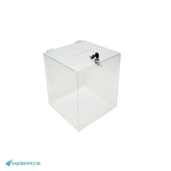Plexi urna rozmerom 25x25x32 cm, transparentná