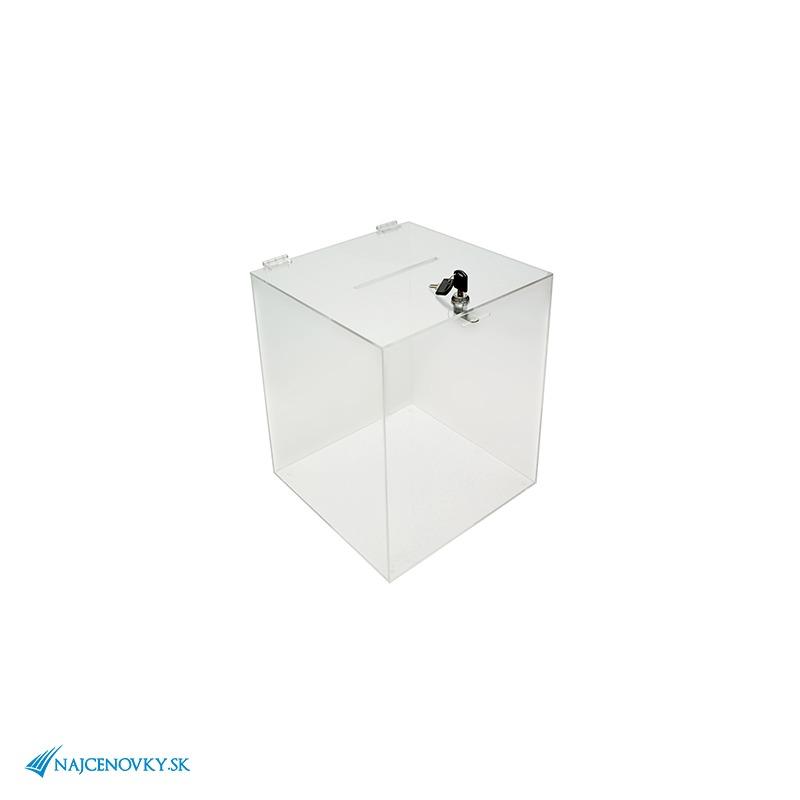 Urna z plexiskla rozmerom 20x20x27 cm, transparentná