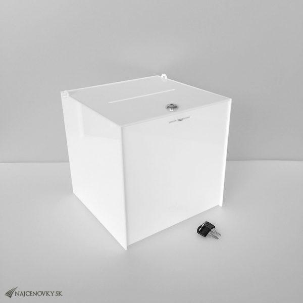 Akrylatový losovací box 250x250x250 mm, biely
