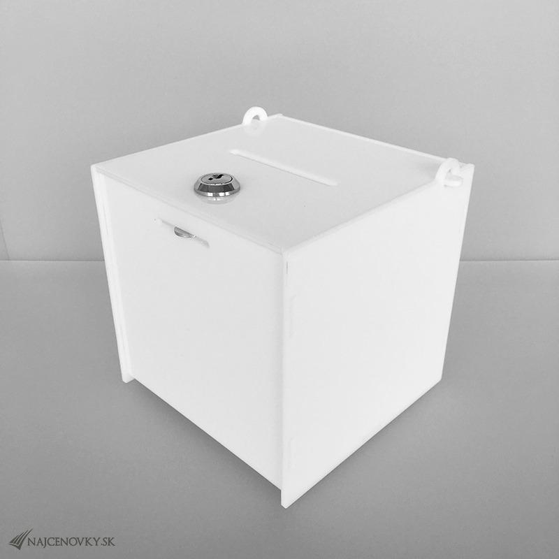 Akrylová urna 15x15x15 cm na zber darov, biela