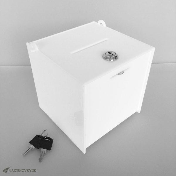 Hlasovací box 20x20x20 cm z plexiskla so zámkom, biely