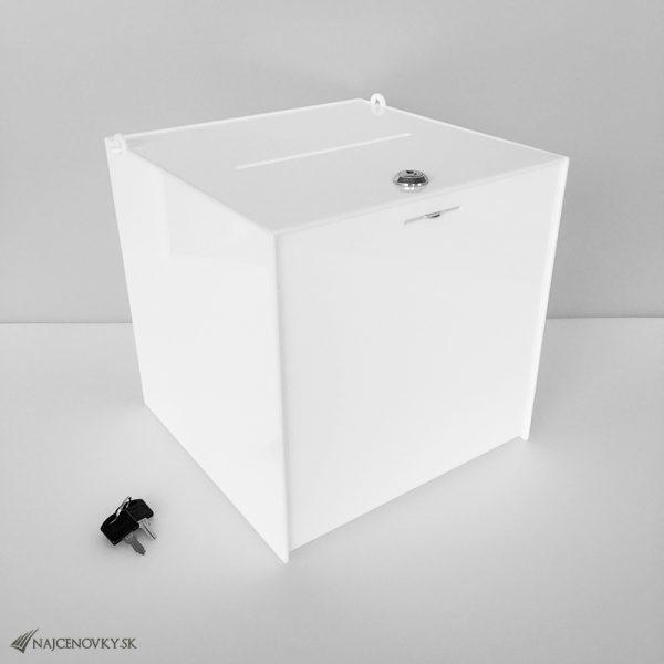 Uzamykateľný box 30x30x30 cm na peňažné dary, biely