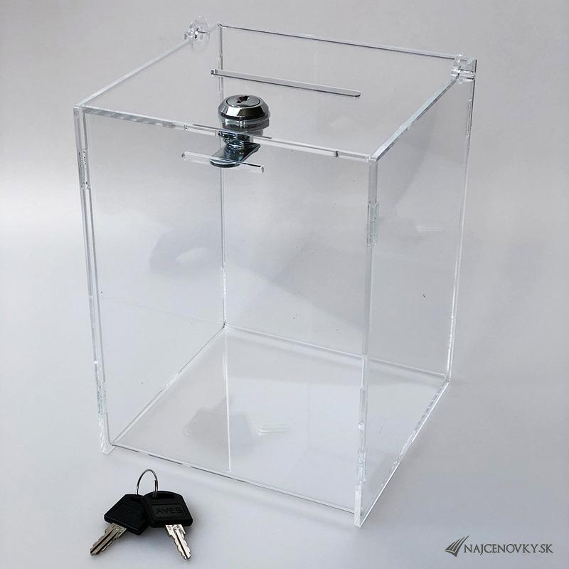 Uzamykateľný box na losy a vizitky, rozmer 15x15x20 cm