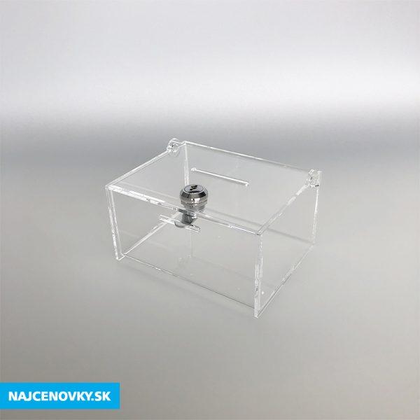 Plexisklová číra pokladnička 15x12x8 cm, uzamykateľná 2