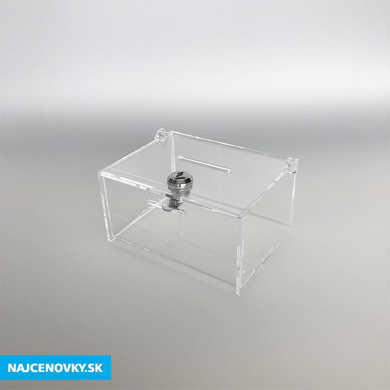 Plexisklová číra pokladnička 15x12x8 cm, uzamykateľná