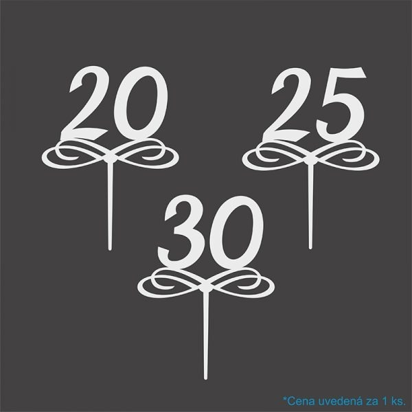 zapich s číslom 20, 25, 30