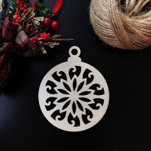 Drevená vianočná ozdoba na stromček, vzor 1